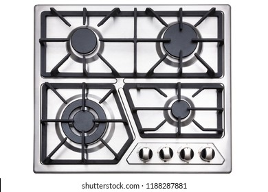 Kitchen surface in stainless steel with cast iron grill. View from above. Isolated on white background.