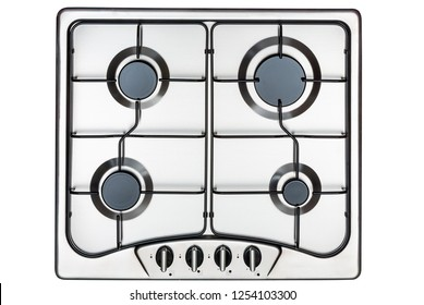 Kitchen surface in stainless steel with metal grill. View from above. Isolated on white background.
