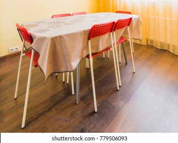 Kitchen table with chairs in the dining room