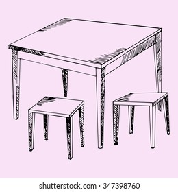 kitchen table and chairs, doodle style, sketch illustration, hand drawn, raster