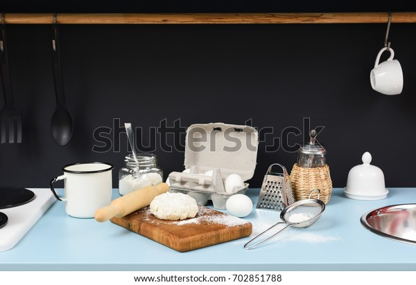 Kitchen Table Process Making Homemade Cookies Stock Photo ...