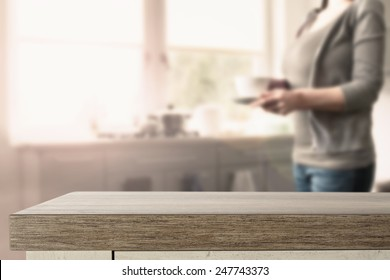 kitchen table space and woman