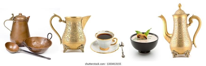 kitchen teapot cup set on white background