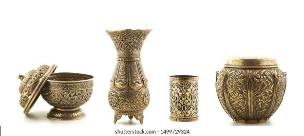 kitchen teapot cup set on white background