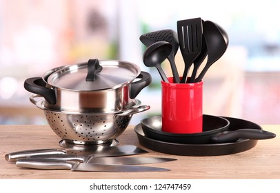 kitchen tools on table in kitchen