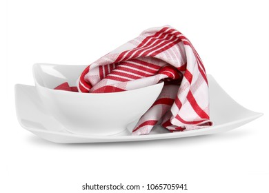 kitchen towels with dishes on white background