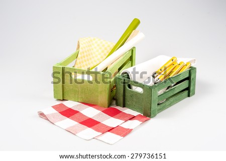 65232d653 Kitchen Towels Wood Green Box Isolated Stock Photo (Edit Now ...