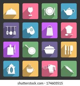 Kitchen utensil flat icons set
