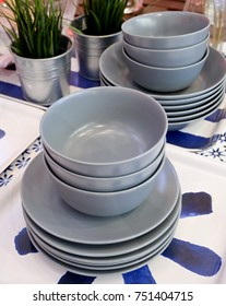 Kitchen Utensil, Set of Porcelain Dishes, Bowls and Plates Preparing for Serve Hot and Cold Food.