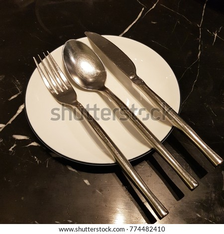 Kitchen Utensil Set Silver Spoon Fork Stock Photo Edit Now