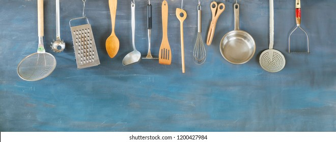 Kitchen utensils, for commercial kitchen. Restaurant,cooking, culinary, kitchen.  Good copy space