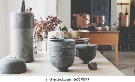 kitchen utensils indoors old