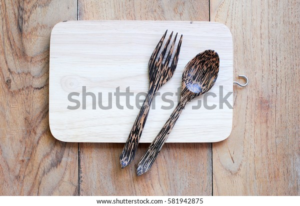 Kitchen utensils made of wood