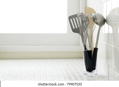 Kitchen utensils on kitchen counter