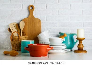 Kitchen utensils on the white table