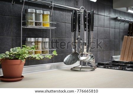 Kitchen Utensils On Work Top Modern Stock Photo Edit Now 776665810