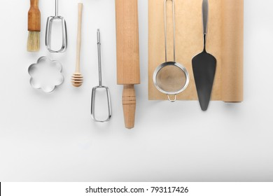 Kitchen utensils for pastries on white background