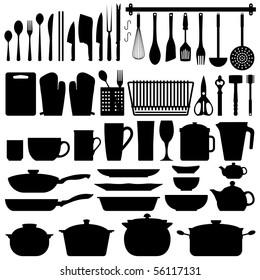 Kitchen Utensils Silhouette Raster