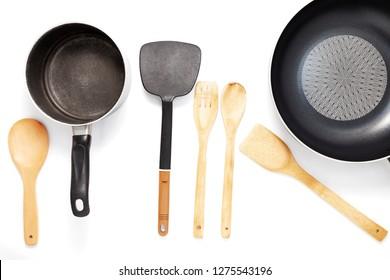 Kitchen utensils,wooden spoon on white table background.