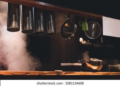The kitchen ware in classic Japanese ramen restaurant