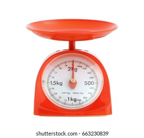 Kitchen weight scale isolated on white background
