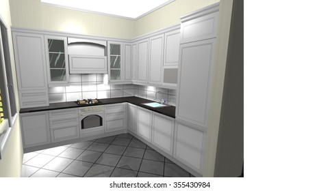 kitchen white in a classic style, interior design 3D rendering illustration