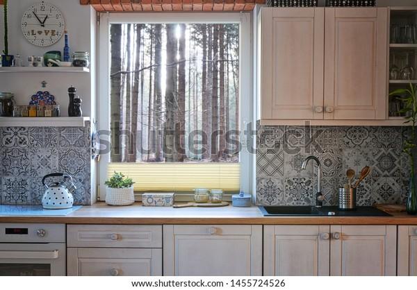 Kitchen White Grey Colours Pattern Tiles Stock Photo Edit Now 1455724526