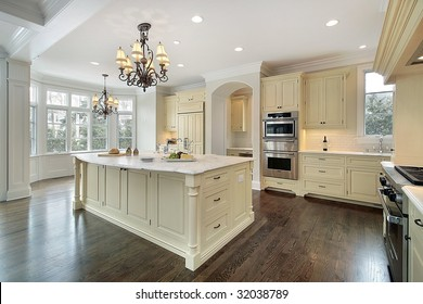 Kitchen with white island