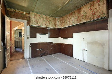 Kitchen without sink in old abandoned home
