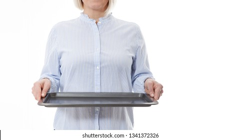 Kitchen woman waitress gives empty tray for your advertising products isolated on white background. Mock up for use