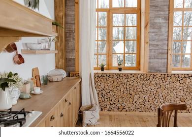 Kitchen wooden interior. Rustic style.