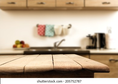 kitchen and wooden table