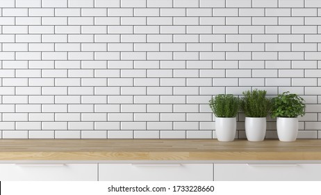 Kitchen wooden top, modern mock up scene with empty space for product or text