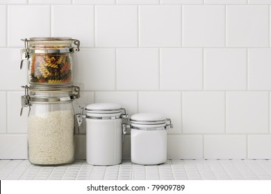 Kitchen worktop with container
