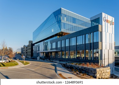 Kitchener, Ontario, Canada – Dec. 19, 2018:  Google Canada Kitchener-Waterloo office buildings.