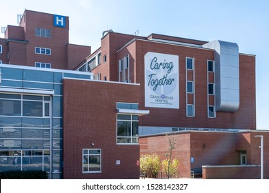 Kitchener, Ontario, Canada- September 30, 2019: Exterior view of Grand River Hospital, a 567-bed hospital serving Waterloo Region, Ontario, Canada,