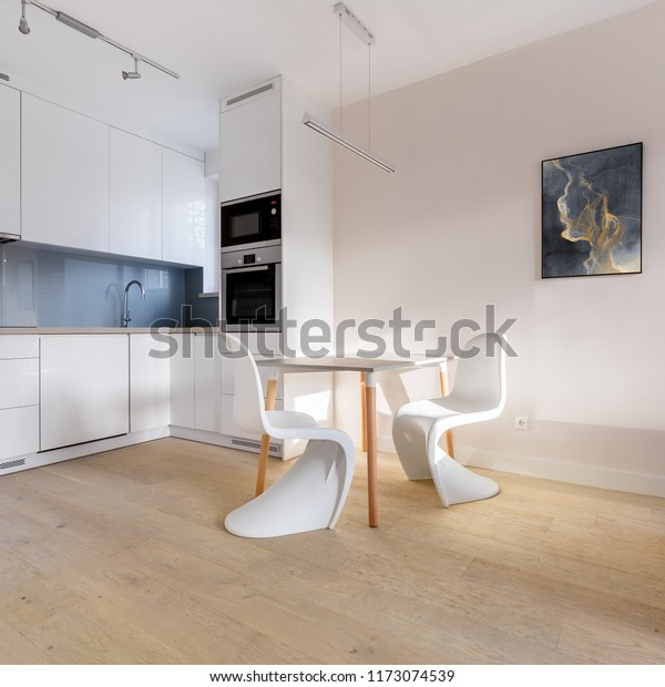 Kitchenette Small Dining Table Two White Stock Photo Edit Now 1173074539