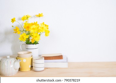 Kitchenware and book on table with copy space.home decor