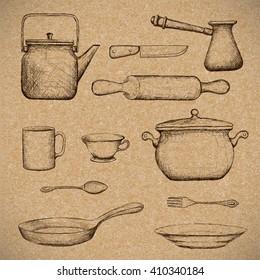 Kitchenware. Doodle image in style retro. Stock illustration.