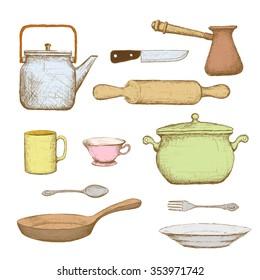Kitchenware. Isolated on white background. Doodle image. Stock illustration