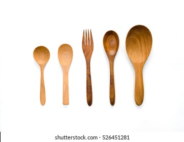 Kitchenware set of wooden spoon and fork on white background.