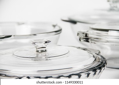 Kitchenware, utensils and cookware for commercial use Pyrex glass pots close up