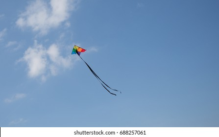 Kite flying high with a blue sky.