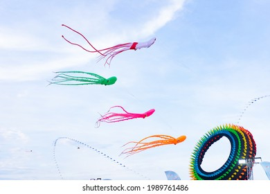 kite flying on blue sky.whale and octopus kites background on blue sky in kite festival.Save the sea.world ocean day concept.kid child nature outdoor.summer wind spring season.whale animal wildlife.