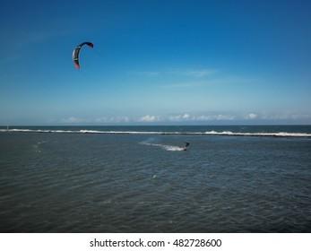 Kite Surf in Brazil. Kiteboarding. Fun in the ocean, Extreme Sport Kitesurfing.