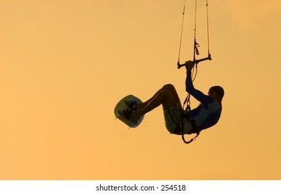 Kite surfer getting air