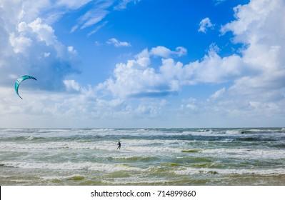 kite surfer north sea denmark