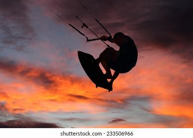 Kite surfer silhouette Southport gold coast Australia
