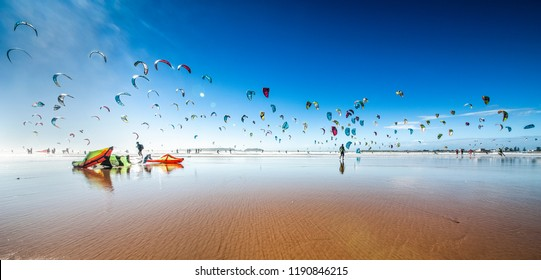 Kite surfing at Essaouira Beach, Morocco