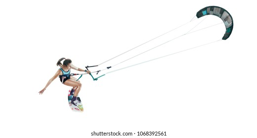 kite surfing isolated on white